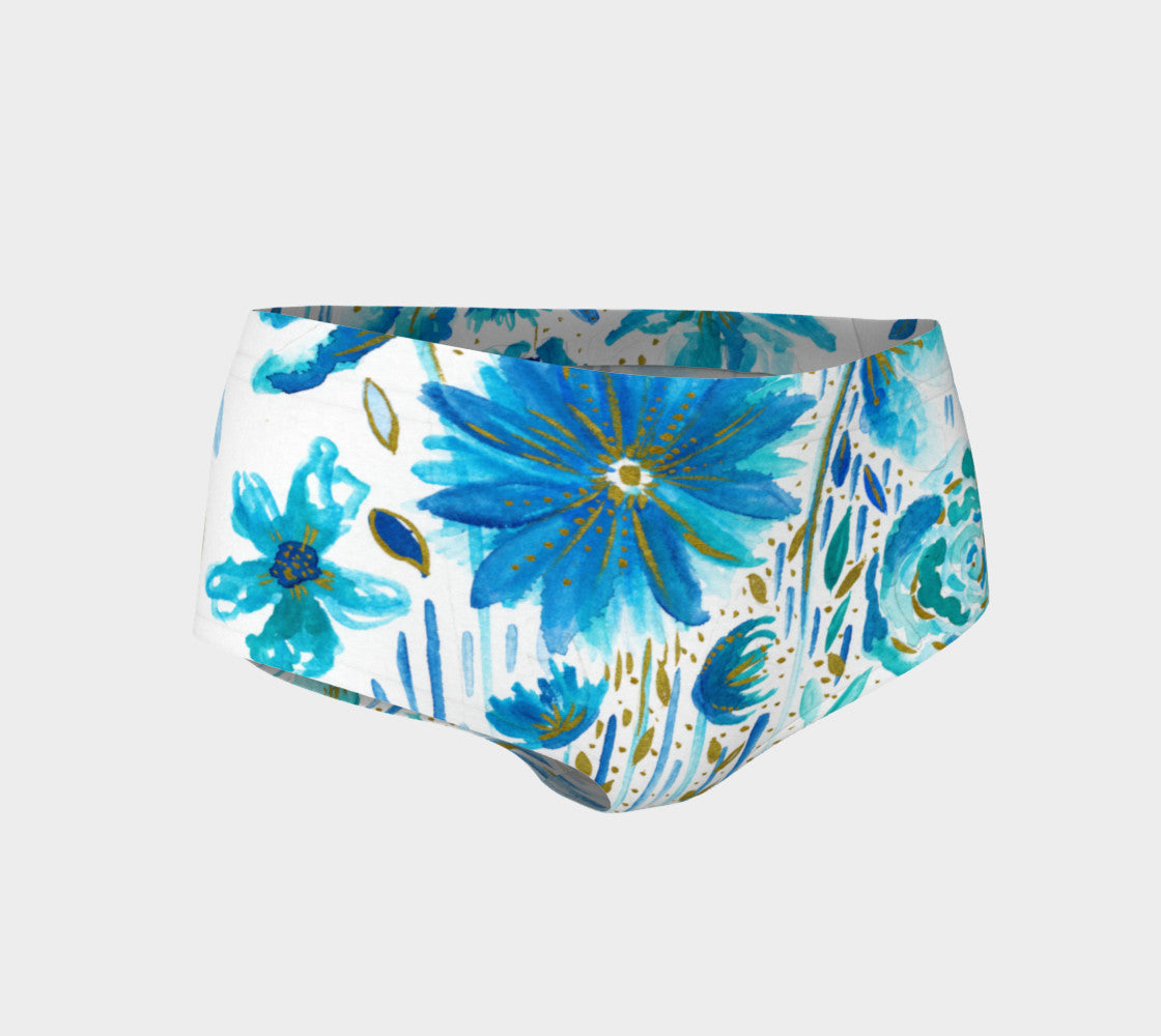 Floral Blues Mini Shorts