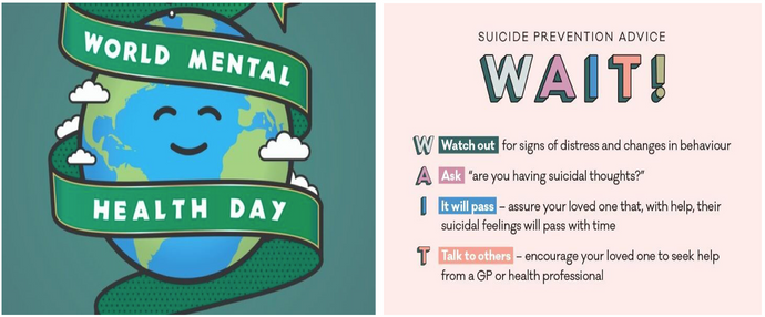 Thursday 10th October marks World Mental Health Day, with this years theme being suicide prevention.