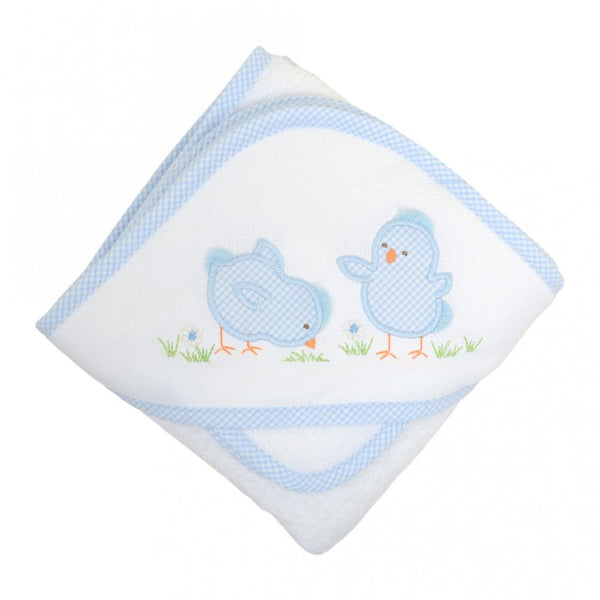 Blue Chick Boxed Hooded Towel & Washcloth Set