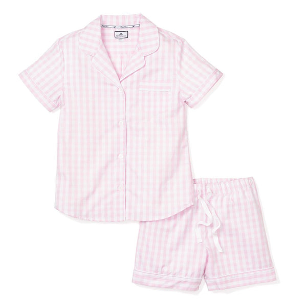 Adult Pink Gingham Short PJ Set