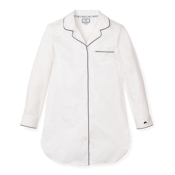 Adult White Nightshirt With Navy Piping