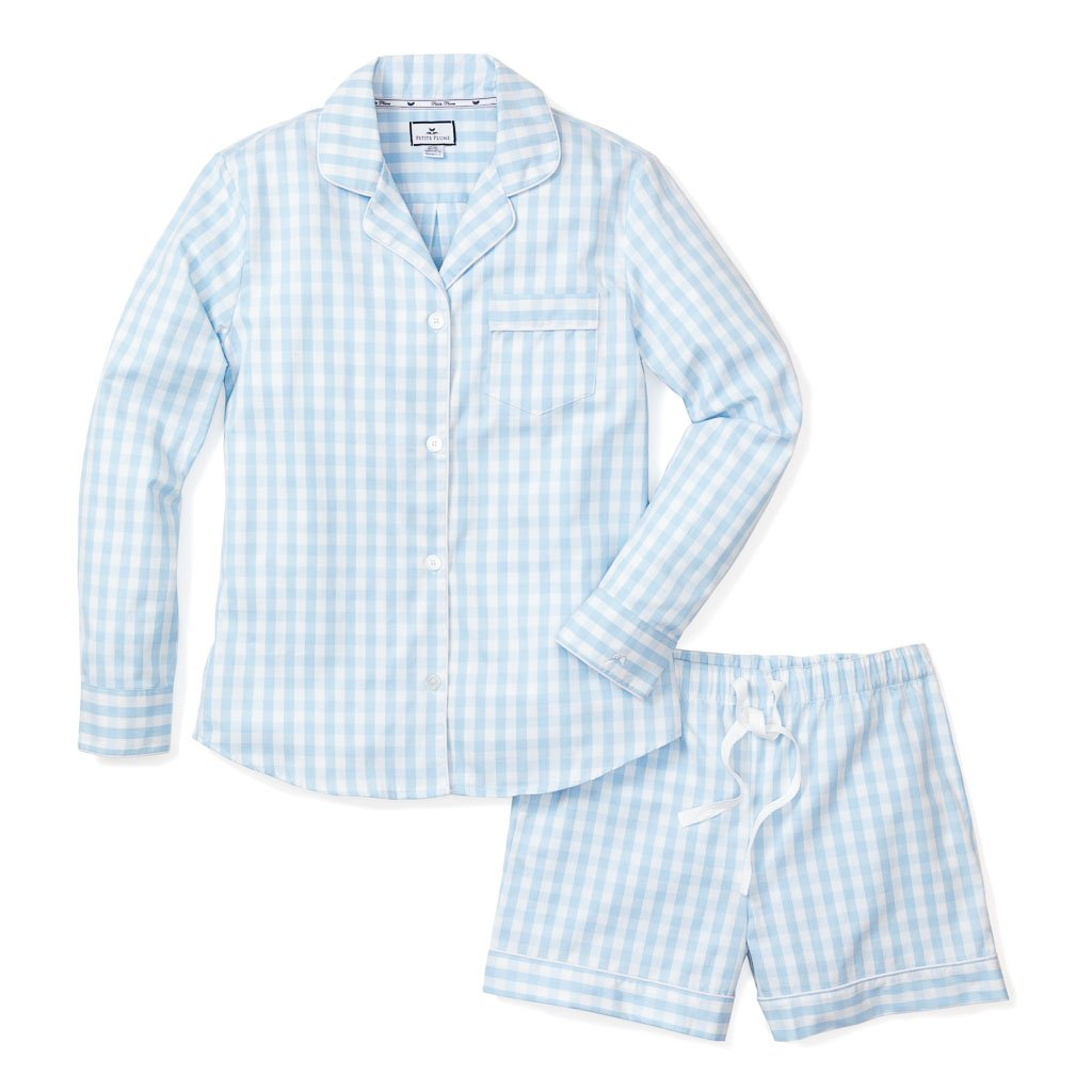 Adult Light Blue Gingham Long Sleeve Short PJ Set