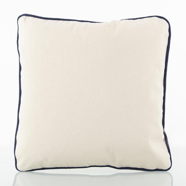 Baby Pillow Natural with Navy Trim