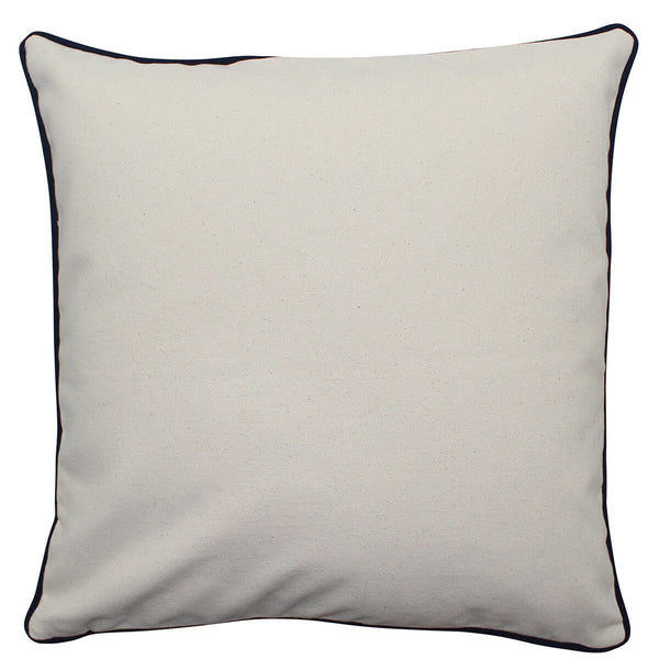 Pillow Natural w/ Navy Piping