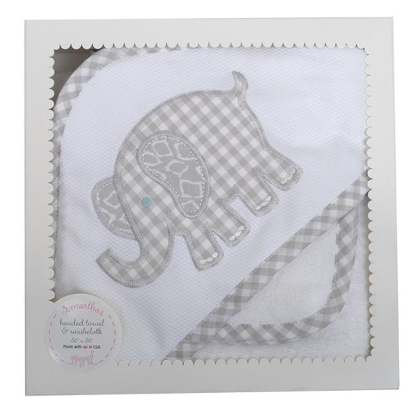 Grey Elephant Hooded Towel And Washcloth Set