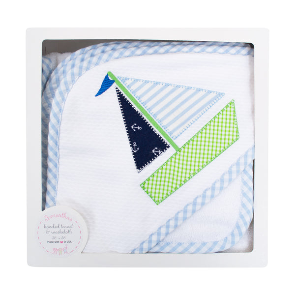 3 Marthas Sailboat Towel & Washcloth Set
