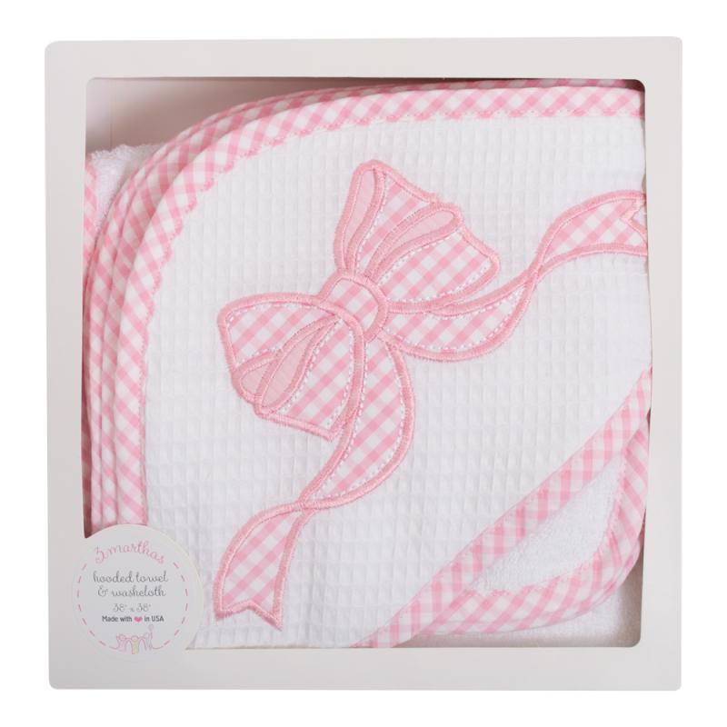 Pink Bow Hooded Towel And Washcloth Set