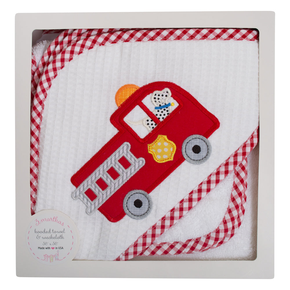 Firetruck Hooded Towel And Washcloth Set