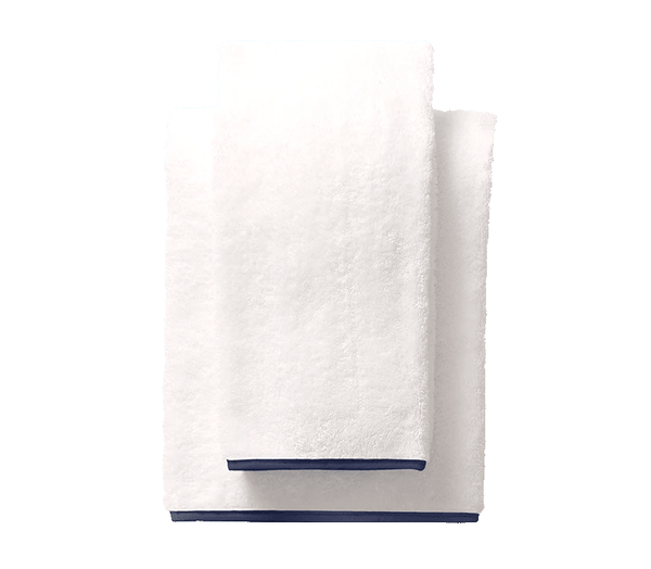 Navy Piped Edge Towels