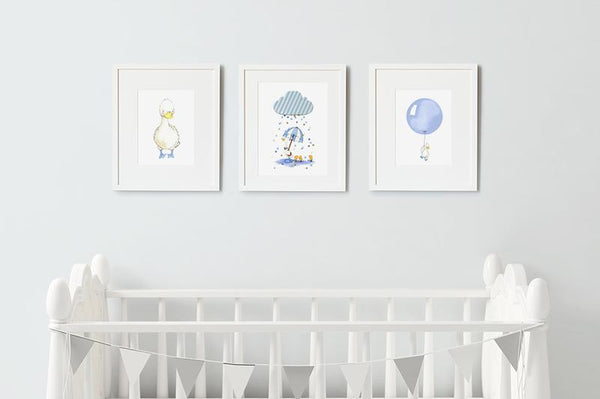 "Baby Boy Puddle Duck Nursery Print Set of 3 12x10"" (Framed)"