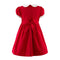Red Classic Smocked Dress