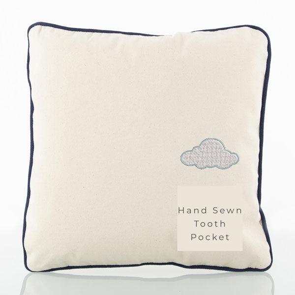 Tooth Pillow Natural with Navy Trim