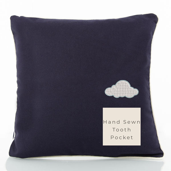 Tooth Pillow Navy with Natural Trim