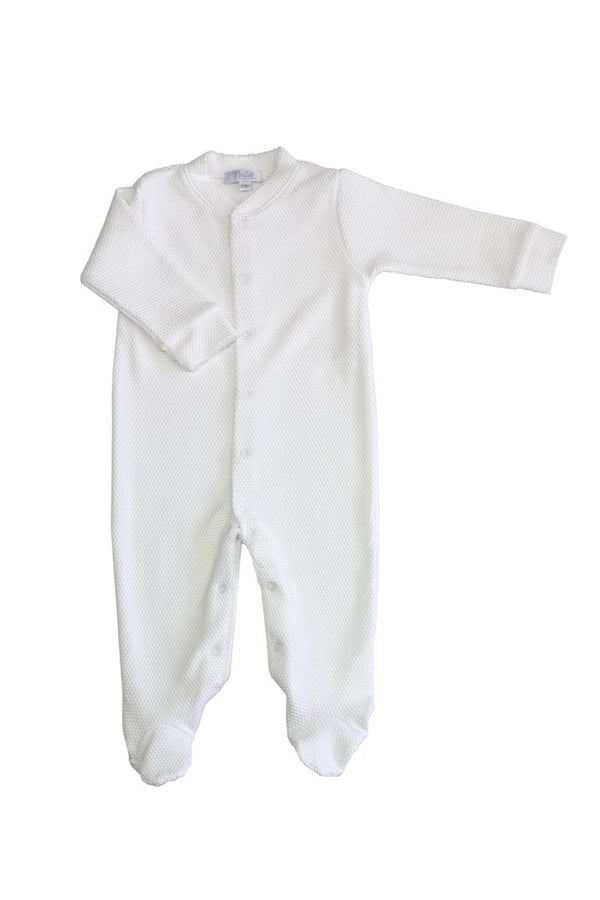 White Bubble Baby Footie - White Trim
