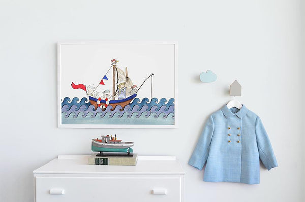 "Big Boat At Sea Picture For Boy's Nautical Bedroom 16x20"" (Unframed)"