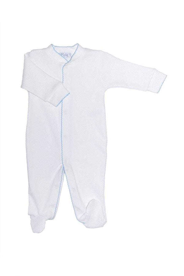 White Bubble Baby Footie - Blue Trim