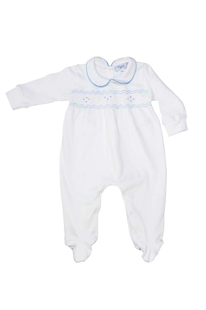 Nella Smocked Baby Boy Footed Onesie
