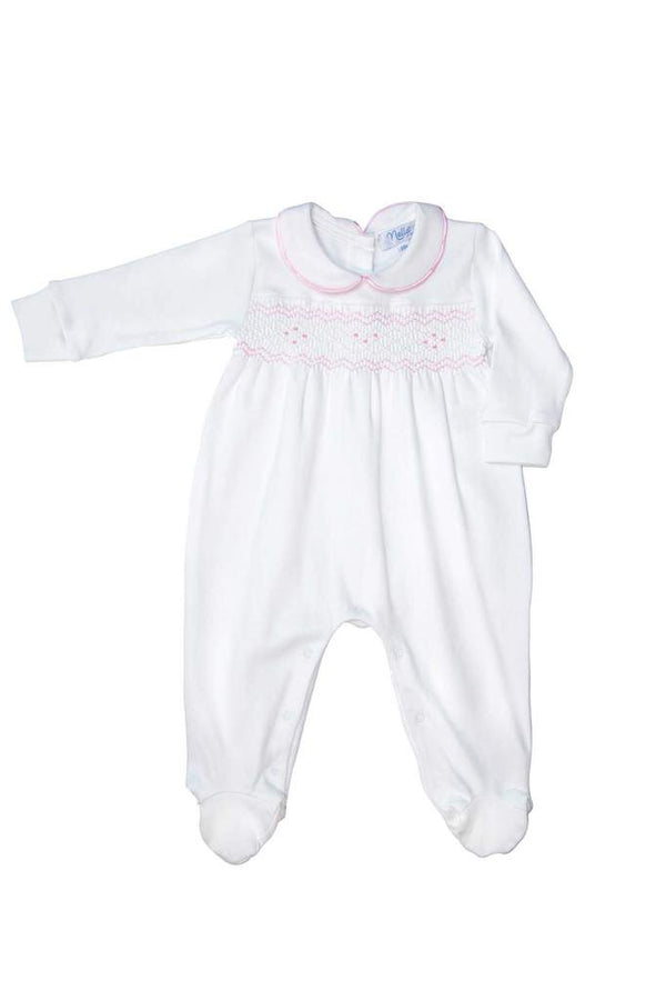 Nella Smocked Baby Girl Footed Onesie