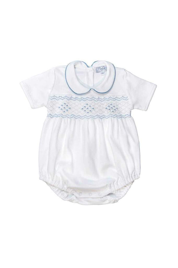 Boy Bubble - Soft Blue Smocked