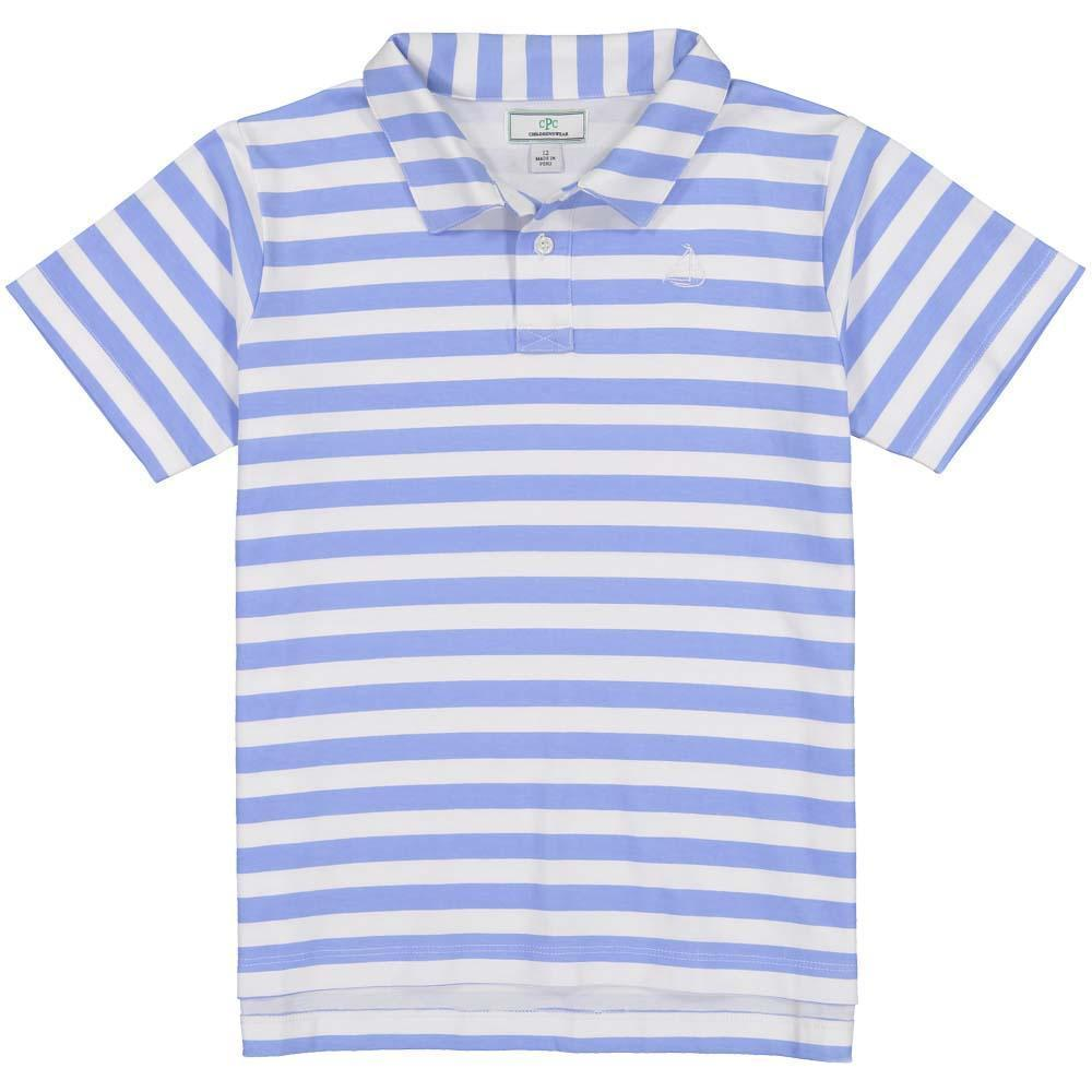 Henry Short Sleeve Polo - Blue Bright And White Stripe