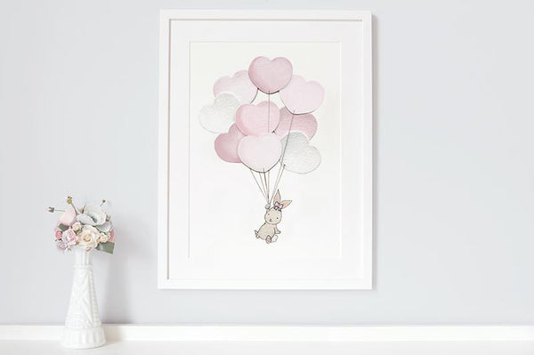 "Girl's Pink Heart Balloon Bunch Wall Picture 12x16"" (Framed)"