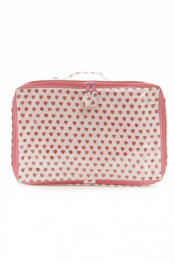 Mini Suitcase Hearts - Pink