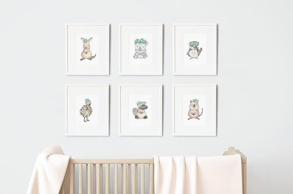Australian Baby Animals Art Print Set (Framed)