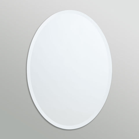 Better Bevel Frameless Beveled Oval Mirror on grey wall