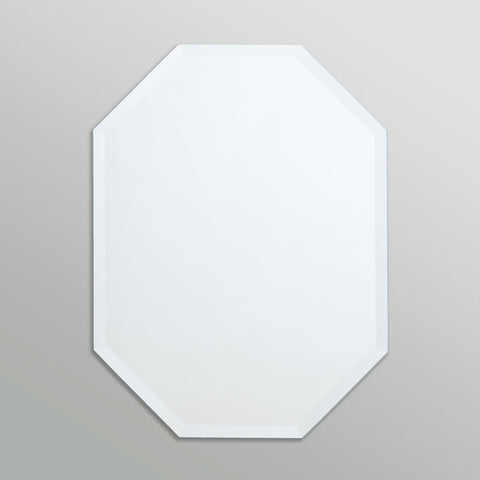 Better Bevel Frameless Beveled Octagon Mirror on grey wall