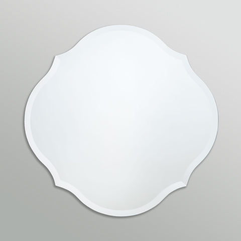 Better Bevel Frameless Beveled Scalloped Round Mirror on grey wall