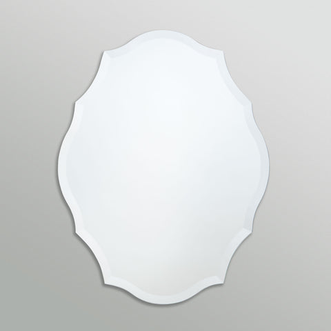 Better Bevel Frameless Beveled Scalloped Oval Emma Mirror on grey wall