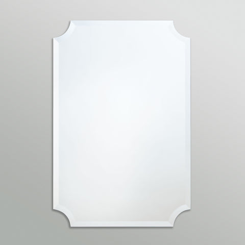 Better Bevel Frameless Beveled Scalloped Rectangle Mirror on grey wall