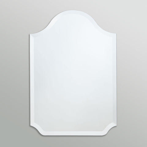 Better Bevel Frameless Beveled Bell-Top Rounded Mirror on grey wall
