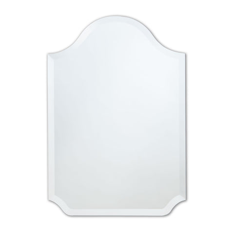 Better Bevel Frameless Beveled Bell-Top Rounded Mirror on white wall