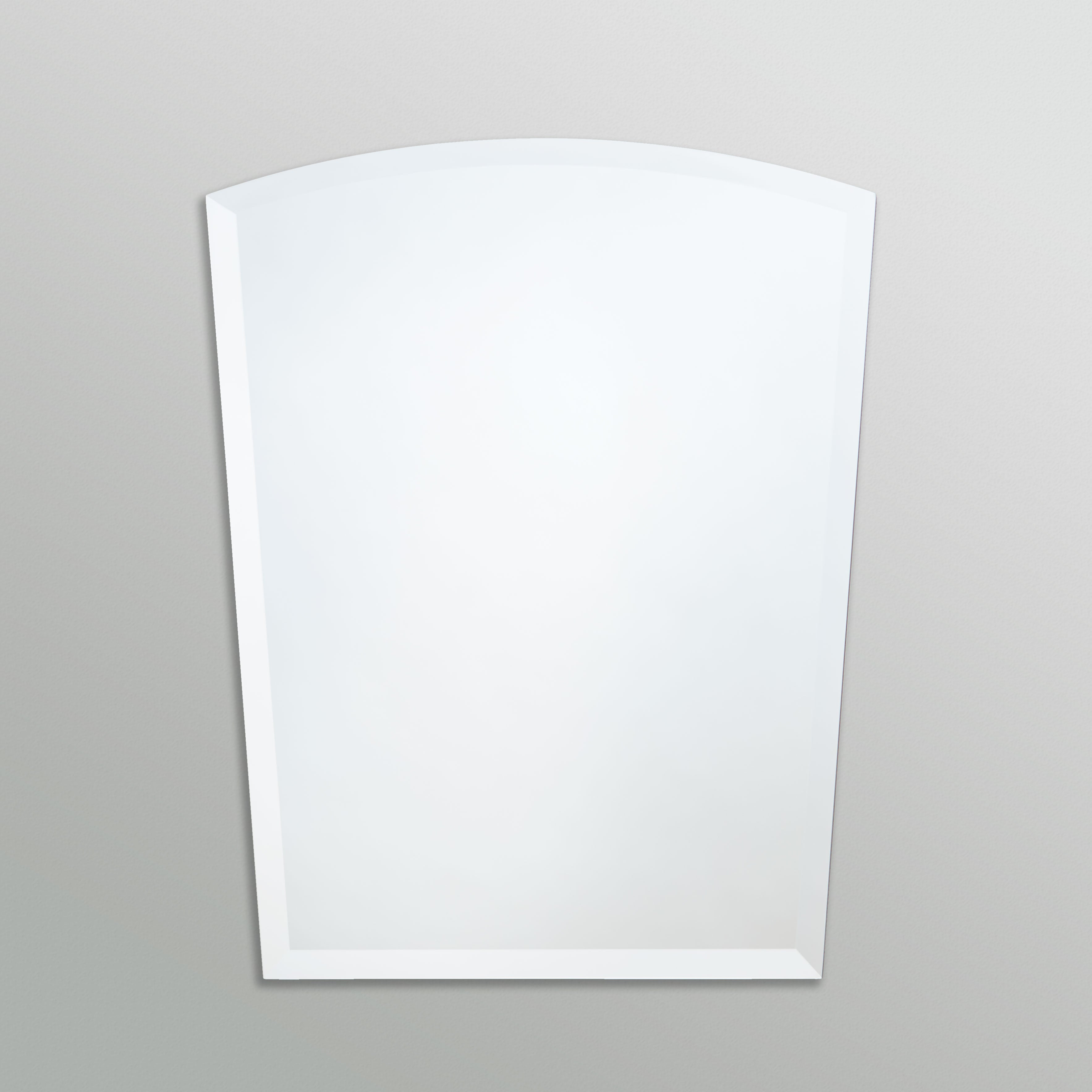 Better Bevel Frameless Beveled Round-Top Arched Mirror on grey wall