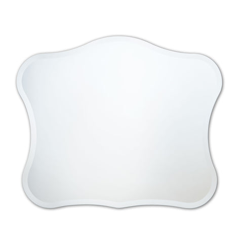 Better Bevel Frameless Beveled Royal Wavy Mirror on white wall