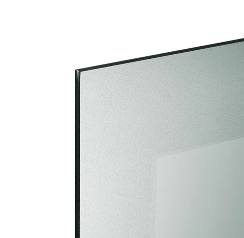 Detailed view of frosted border rectangle mirror
