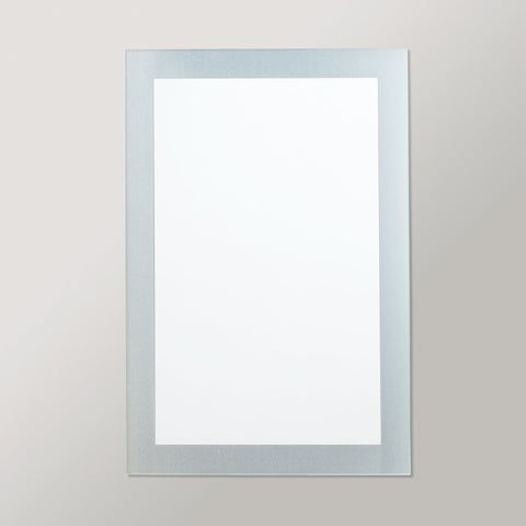 Better Bevel Frameless Frosted Border Rectangle Mirror on grey wall