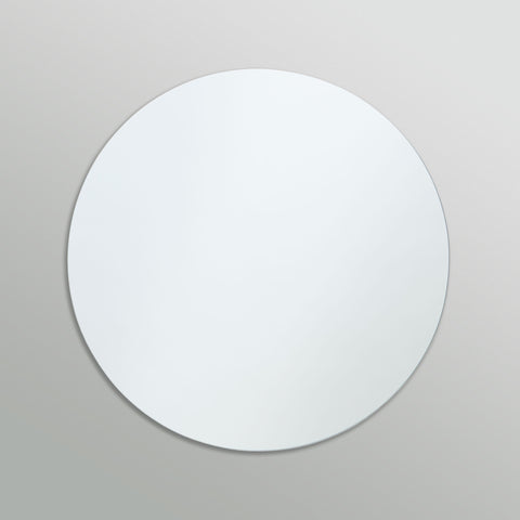Better Bevel Frameless Polished Edge Round Mirror on grey wall