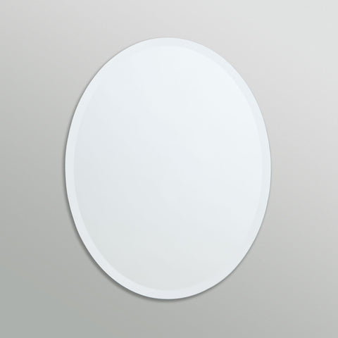 Better Bevel Frameless Beveled Oval Copper-Free Mirror on grey wall