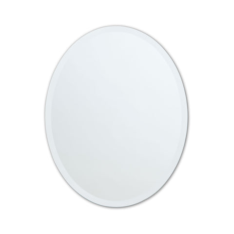 Better Bevel Frameless Beveled Oval Copper-Free Mirror on white wall