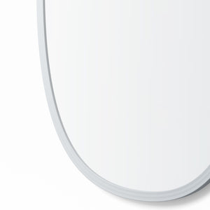 Grey Rubber Framed Oblong Oval Mirror