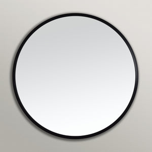 Black Rubber Framed Round Mirror on Grey Wall