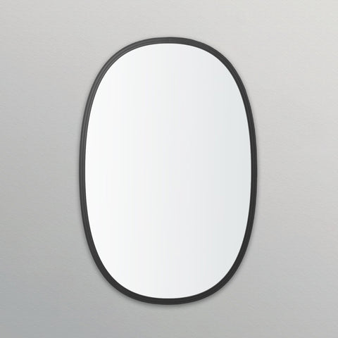 Black Rubber Framed Oblong Oval Mirror