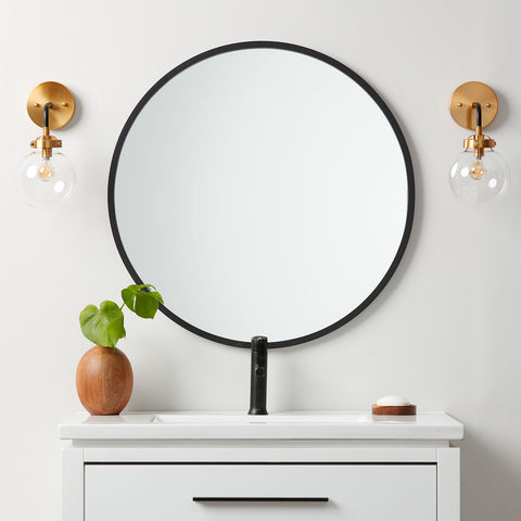 Black Rubber Framed Round Mirror