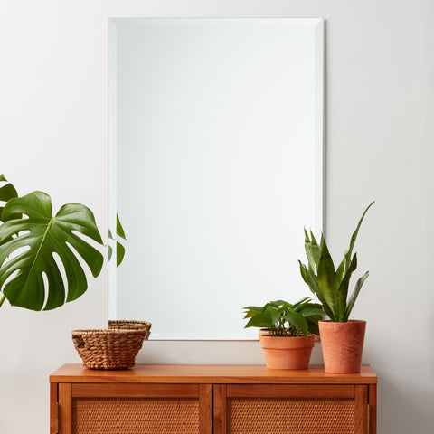 Frameless Beveled Rectangle Mirror, Professional Grade