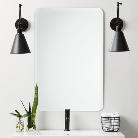 Frameless Beveled Rounded Rectangle Mirror