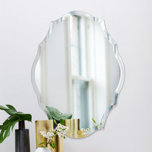 Frameless Beveled Scalloped Oval Mirror