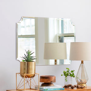 Frameless Beveled Scalloped Rectangle Mirror