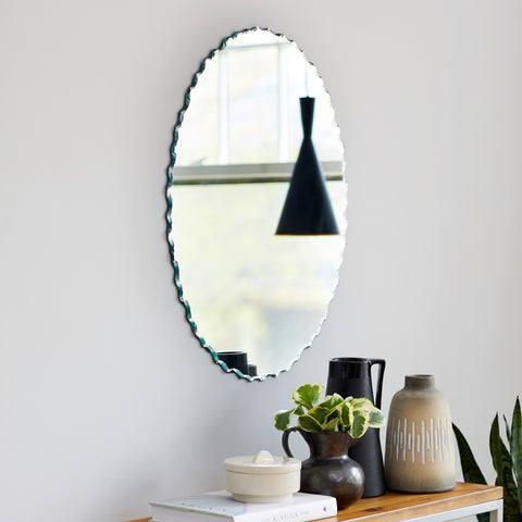 Frameless Chiseled Edge Oval Mirror